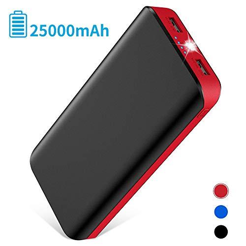 Powerbank 25000mAh 2 USB Ports Externer Akku mit LED-Statusanzeige LED Licht Extrem hohe Kapazitat Powerbank für iPhone XS Max/XR /XS /X /8 /8Plus /7 /6s /6 Samsung Tablet PSP und weitere Smartphones