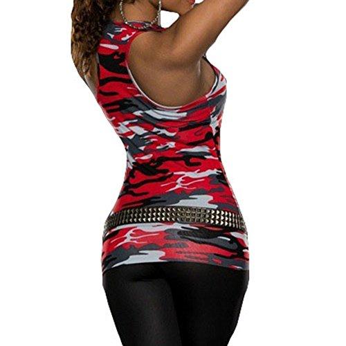Hibote Débardeurs Décontractés Camouflage Party Vest Rue sans Manches Sexy Club Lady Army Shirt Rouge