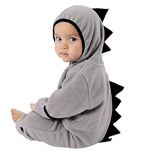 (MRULIC Neugeborenes Baby Jumpsuit Outfit Dinosaurier Reißverschluss mit Kapuze Spielanzug Overall Outfit Kleidung Niedlicher Babyschlafsack Onesies Herbst und Wintermodelle(A-Grau,75-80CM))