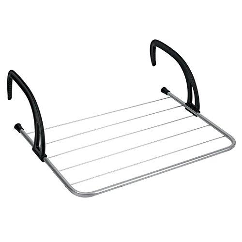 Metaltex 406003031 - stendibiancheria da campeggio/balcone, colore: argento/nero