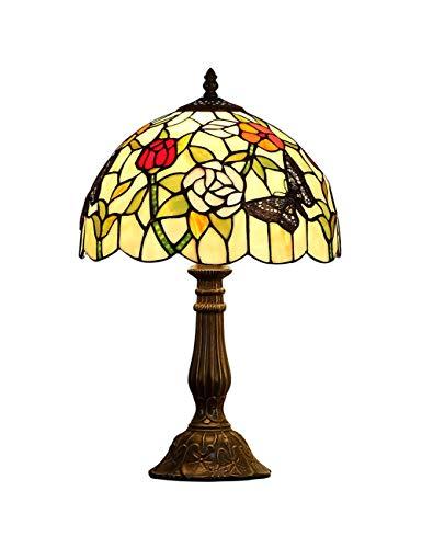 Art Glass Vintage Tisch Lampe (DLewiee Flower Art Glass Table Lamp E27, Europäische elegante Vintage Glasmalerei Lampenschirm, Sofa Ecke Arbeitszimmer Schlafzimmer Dekoration Lampe, 12 Zoll)