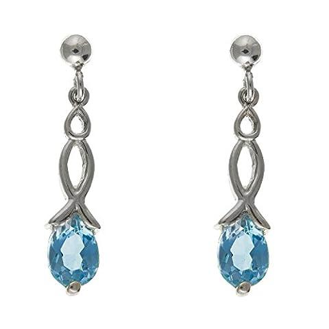 ovale Sparkling véritable Topaze bleue Solitaire Fancy–Boucles d'Oreilles Pendantes 5mm x 23mm–Argent Sterling 925–Livré dans une boîte cadeau gratuit/sac cadeau