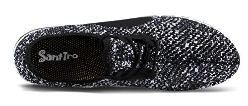 Santiro Le Glissement De l'homme Sur Sneaker Mesh Upper Entraîneur Chaussures Noir