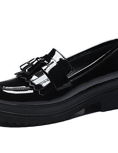 WSS 2016 Chaussures Femme-Bureau & Travail / Décontracté-Noir / Rouge-Gros Talon-Talons-Chaussures à Talons-Cuir Verni black-us8 / eu39 / uk6 / cn39