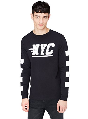 FIND Herren Langarmshirt mit NYC-Print, Schwarz (Black 001), Medium (Nyc Polo Herren)