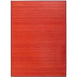 LOLAhome Alfombra de salón Pop roja de bambú de 180 x 250 cm Iris, 180x250