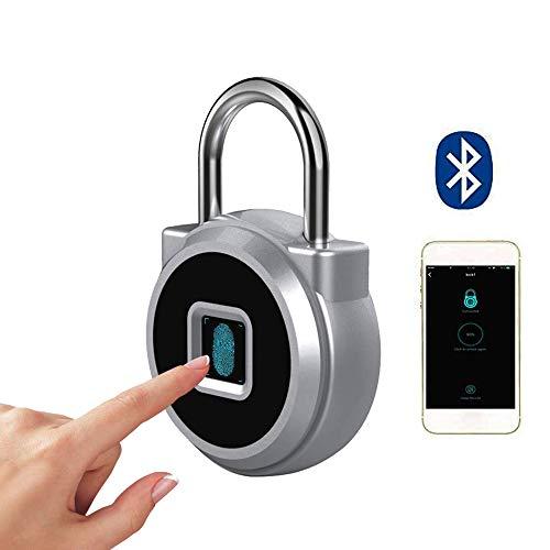 Candado Con Huella Digital, Candado SUNJULY Candado Con Huella Digital Impermeable, Antirrobo, Cerradura Inteligente Recargable Bluetooth, Para Gabinete, Puerta, Equipaje, Hogar