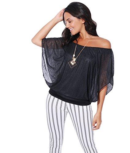 KRISP Top Femme Fluide Mode Femme, Noir (6093), XL/XXL (48)