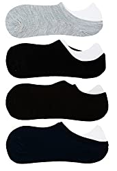 Neska Moda 4 Pair Unisex Plain Cotton No Show Loafer Socks-Black,Grey,Brown,Blue