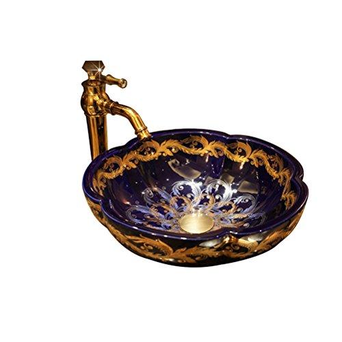 XF Waschbecken Tisch mit Blütenblatt-förmigen Art Basin Keramik Waschbecken Waschbecken Wasserhahn Set, 40X14cm Toilettenartikel im Badezimmer -