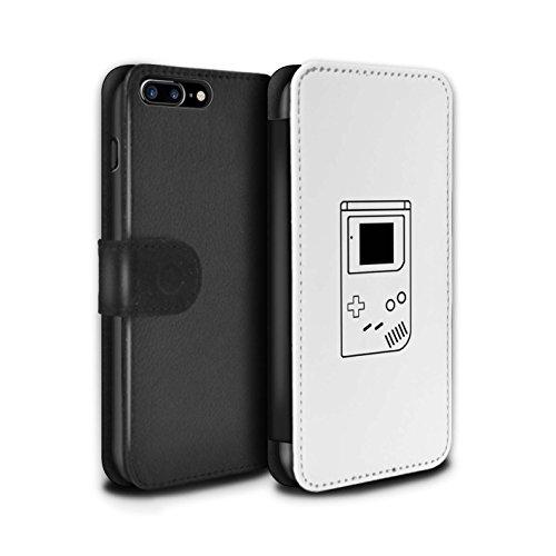 STUFF4 PU-Leder Hülle/Case/Tasche/Cover für Apple iPhone 8 Plus / Pack 20pcs Muster / Spielsteuerung Kollektion Weiß Gameboy