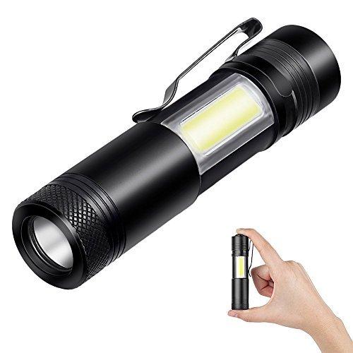 Amasio Tragbare Mini-LED-Taschenlampe, ultrahell, 500 Lumen, Wasserdichte Taschenlampe, CREE LED + COB LED Taschenlampe, 4 Modi, Aluminiumlegierung (Schwarz) für Camping, Wandern und Notfall Surefire Mini