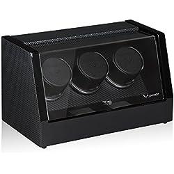 Luxwinder Unisex Zubehör Uhrenbeweger für 3 Automatikuhren powered by Modalo carbon verschiedene Materialien mehrfarbig 8003882