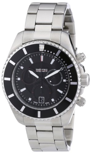 Nautec No Limit - SL QZ/STSTBKBK - Montre Homme - Quartz Chronographe - Chronomètre - Bracelet Acier Inoxydable Argent