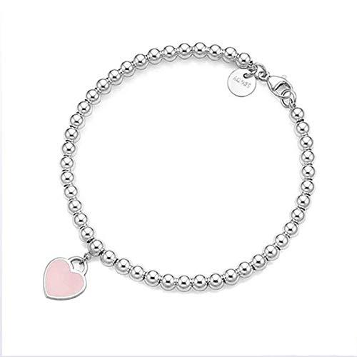 Z&HA 925 Sterling Silber Dangling Heart Charm Bead Armbänder, Charme Blue Pink Red Enamel Finish, Schmuckgeschenk für Frauen und Teen Mädchen,03,16