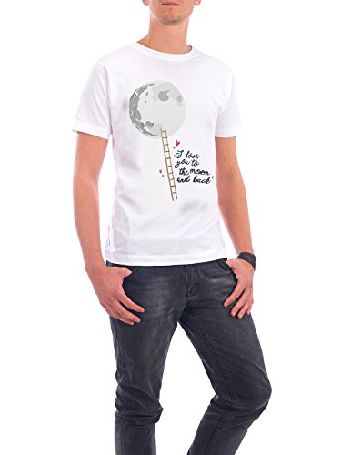 """Design T-Shirt Männer Continental Cotton """"Love you to the moon and back"""" - stylisches Shirt Typografie Natur Kindermotive Menschen Liebe von Giuseppina Mirisola Weiß"""