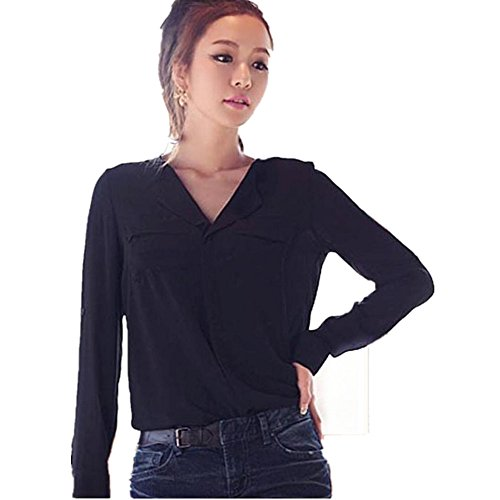 Damen Bluse, Btruely Lange Hülse Chiffon Taste Unten Shirt Tops (S, schwarz) (Popeline Langarm-taste)
