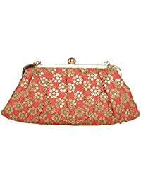 TARUSA Ivory Silk Floral Pattern Clutch For Women's