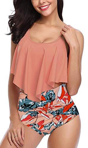 Angerella Donna Flounce Frill Top Bikini Set Vita Alta Ruched Costume da Bagno