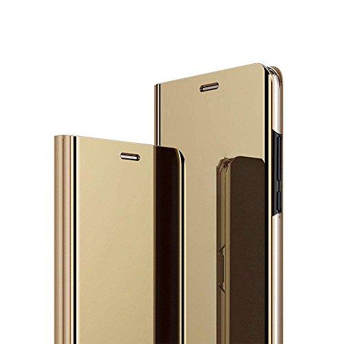 Funda Xiaomi MI A2 Lite, Flip Tapa Libro Carcasa - Modelo Fecha y Espejo Brillante tirón del Duro Case, Espejo Soporte Plegable en Reflectante para Xiaomi MI A2 Lite (Oro Dorada)