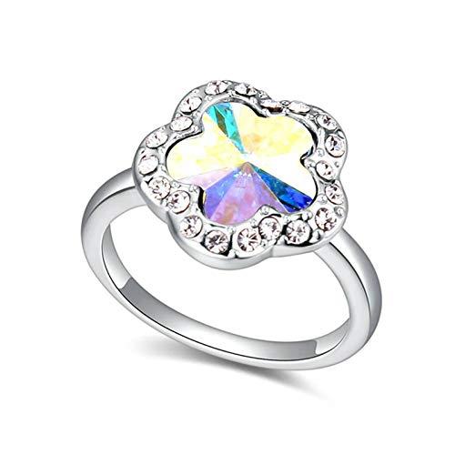 SonMo Ring Damen Vergoldet Damen Ring Zirkonia Silber Plum Blume Trauringe Eheringe Paarringe Hochzeit Ring für Damen Bandring Bunt Größe 54 (17.2)