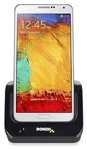 DONZO® Standard USB Dockingstation für Samsung Galaxy Note 3 N9000/N9002/N9005 + USB Datenkabel + Ladegerät Netzteil - schwarz
