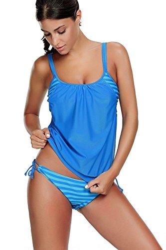 Azue Damen Zweiteilig Tankini Bauchweg Badeanzug Sportlich Beachwear mit Bikinislip Hellblau Streifen EU 34-36