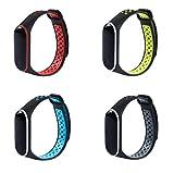 XIHAMA Bracelet de Rechange pour Xiaomi Mi Band 3 / Mi Band 4, Deux Couleurs Silicone Remplacement Montre Bracelet (B Set (4pcs))