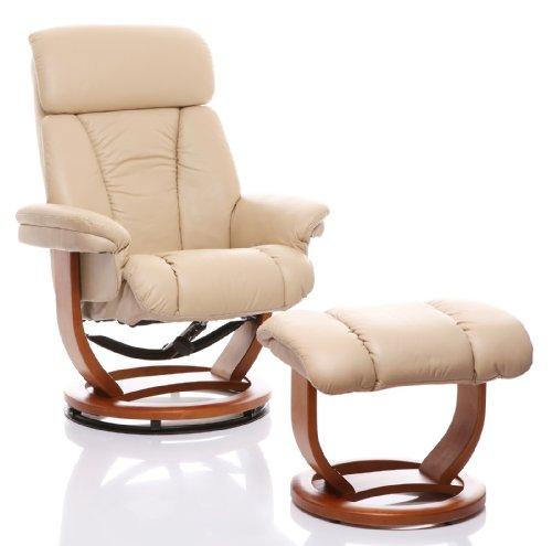 """Oriental Leather Co Ltd (Großbritannien) Echtleder Relaxsessel, Liegesessel """"The Saigon"""" mit Hocker, Creme"""