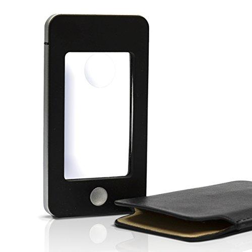 eyepower Lupe Leselupe Handy-Optik 4 LED Kaltweißlicht 1,75x/4x Vergrößerung Schutzhülle