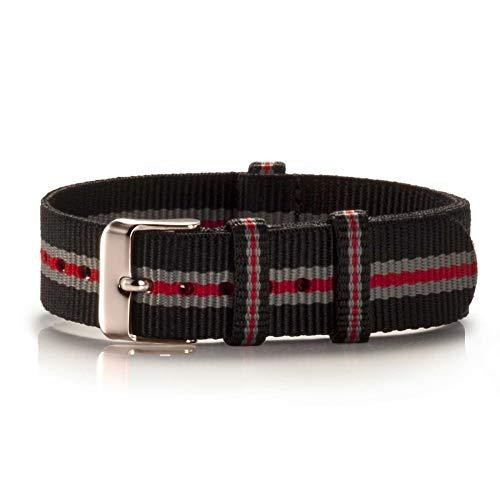 NATO Armband Textil Pretored schwarz-grau-rot Kupfer