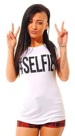 NEW WOMENS SELFIE TOP CAP TURN UP SLEEVE # SELFIE SLOGAN TEE WHITE T-SHIRT 8 - 14