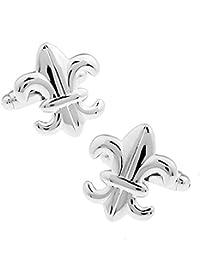 Un par de La flor de lis de plata Gemelos CON CAJA DE REGALOS DE PRESENTACIÓN
