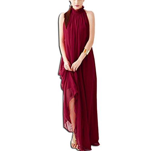 KAXIDY Donna Vestiti Senza Maniche Abiti di Sera Elegante Abiti Sezione Lunga Vestiti (Vino Rosso)