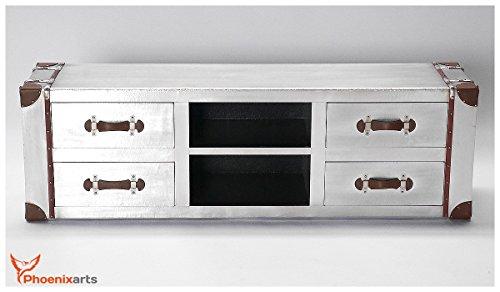 Phoenixarts Industrie Design Vintage TV Sideboard Schrank Aluminium Truhe Lowboard Loft Möbel 501 - 4
