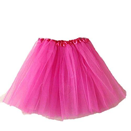 Fuibo Damen Tütü Rock Minirock Frauen Ballett Tutu Geschichteten Organza Spitze Minirock Mini Skater Tutu Rock Erwachsene Ballettrock Tüllrock für Party Halloween Kostüme Tanzen (Hot Pink)