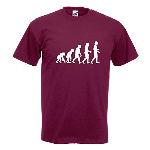 KIWISTAR - Evolution Charles Darwin T-Shirt in 15 verschiedenen Farben - Herren Funshirt bedruckt Design Sprüche Spruch Motive Oberteil Baumwolle Print Größe S M L XL XXL Burgund