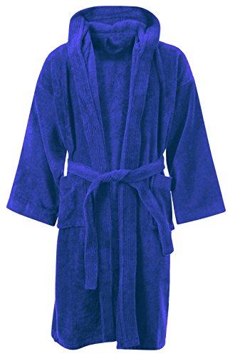 KIDS JUNGE MÄDCHEN BADEZIMMER 100% ÄGYPTISCHE BAUMWOLLE LUXUX VELOR TÜCHER KAPUZE KLEIDUNG GOWN SOFT FINE BEQUEME NIGHTWEAR TERRY TÜCHER BAD ROBE LOUNGE WEAR HOUSECOAT (10-12 Jahre, Königsblau) (Luxus-wear Fashion)
