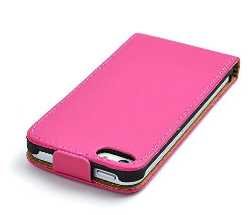 gada - Handyhülle für Apple iPhone 5 - Leder-Imitat Flipcase - in mehreren Farben erhältlich - Pink Pink