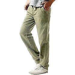 689c68e0168 Gusspower Pantalones Hombre Verano Pantalones de Lino Sueltos Pantalón de  Playa con Bolsillos Laterales Pantalones Hombres