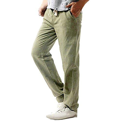 PARVAL Hombres Pantalones de Lino Sueltos Pantalones de Playa Pantalones de Verano Hombres Largos Pantalones harén Pantalones Casuales de Color Liso con Bolsillos Laterales, Ligero con cordón