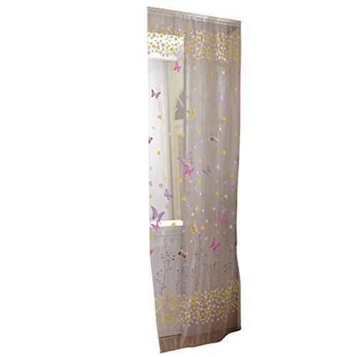 VORCOOL Transaprente Voile Vorhänge, Schmetterling Tür Fenster Dekoschal Blumen Muster Gardine für Wohnzimmer Schalfzimmer - Größe 100 x 200 cm (Rose Rot)