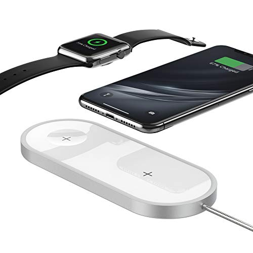 2-in-1 Kabellose Aufladestation für i'Watch & i'Phone TateGuard QI-Zertifiziert Kabellos Handy Ladepad Dock-Halter für i'Phone 8/X/XS/Galaxy S8/S9P & i'Watch Series 3/2/1 Nike+Edition 42 38mm Weiß
