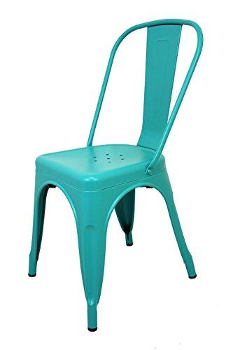 La Silla Española - Silla estilo Tolix con respaldo. Color Turquesa. Medidas 85x54x45,5