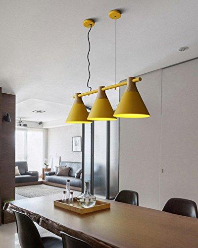 Pendelleuchte Moderne Einfach Kreativ Design Hängeleuchte 3 flmmig Innen Decken Beleuchtung Leuchte Rustikal Kronleuchter für Wohnzimmer Esszimmer Küche Shop Metall und Holz Lampe E27 Bulb , Gelb -