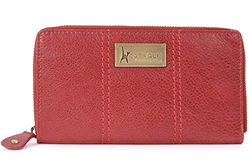 Catwalk Collection Handbags - Vera Pelle - Borsellino/Portafoglio/Portamonete da Donna - RFID Protezione - Scatola Regalo - Gallery Purse - ROSSO - RFID