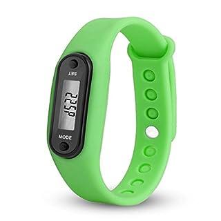 chtdz Kieselgel-Armbänder, Aktivitätstracker LED-Uhr mit Schrittzähler, Kalorienzähler, Schrittzähler für Kinder, Frauen und Männer, grün, Approx. 4.5 x 3.4 x 2.2cm