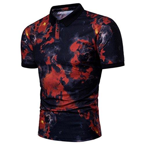 MRULIC Mode Herren Sommer Casual Revers Druckknopf down Pullover T-Shirt Top(Rot,EU-52/CN-3XL)