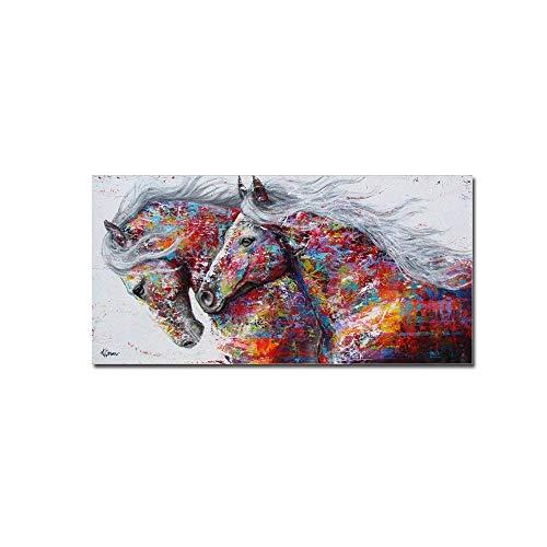 La Vie Abstrakt Bild auf Leinwand Buntes Pferd Bild Hochwertiger Kunstdruck Ölgemälde Poster für Zuhause Wohnzimmer Schlafzimmer Küche Hotel Büro Geschenk 60x120 cm kein Rahmen