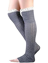 DEELIN Calcetines Mujer Lady Cable Knit Over Knee Bota Larga Hasta El Muslo Calcetines De Encaje